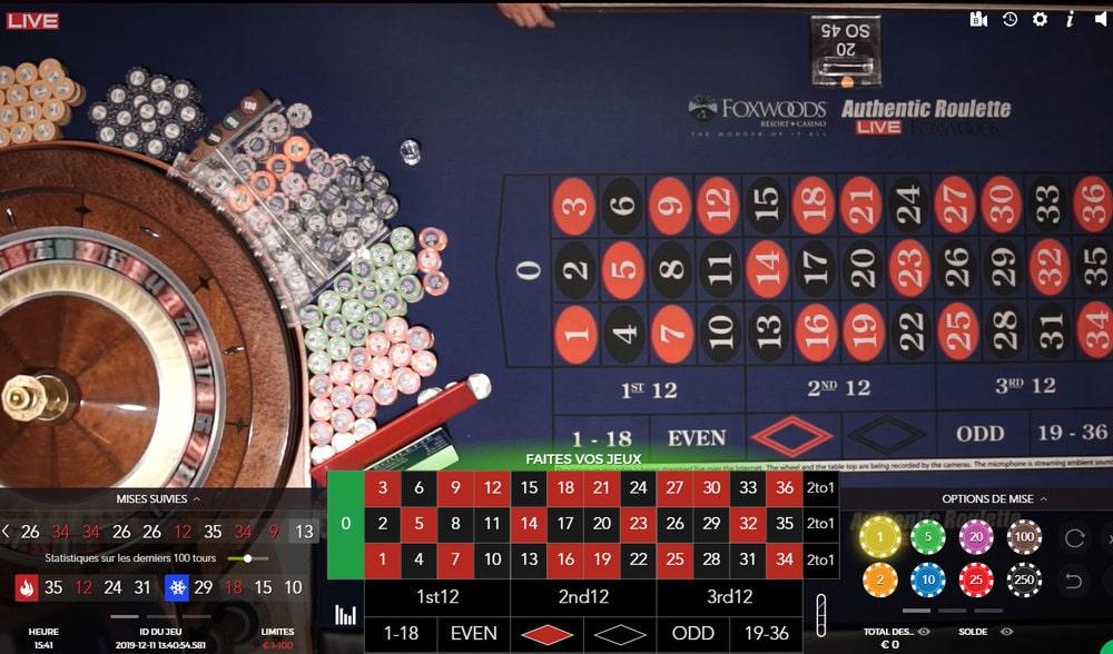 Roulette en streaming du Foxwoods Resort Casino aux Etats-Unis