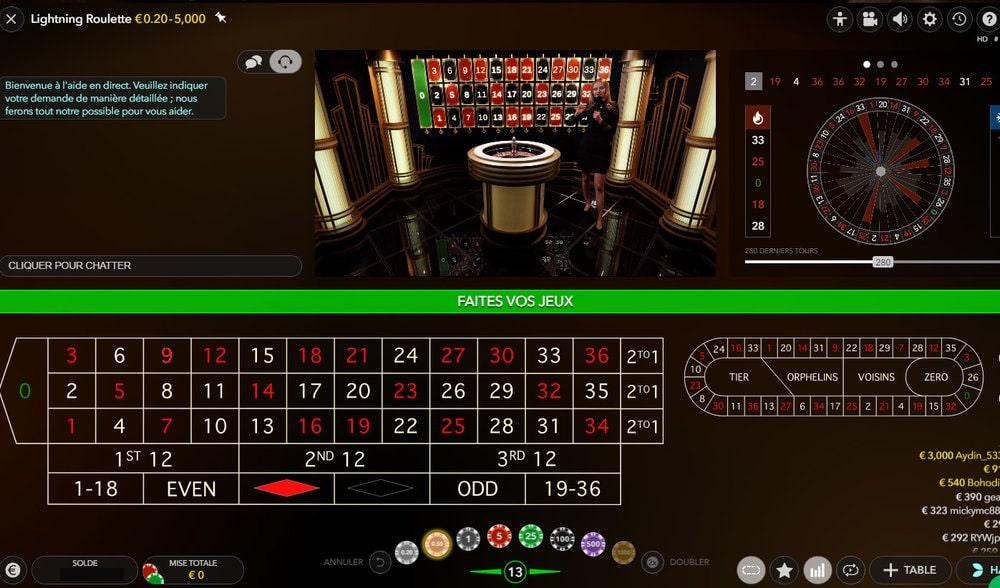 Lightning Roulette retransmise en streaming aux Internautes