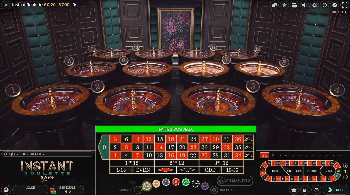 Instant Roulette d'Evolution Gaming