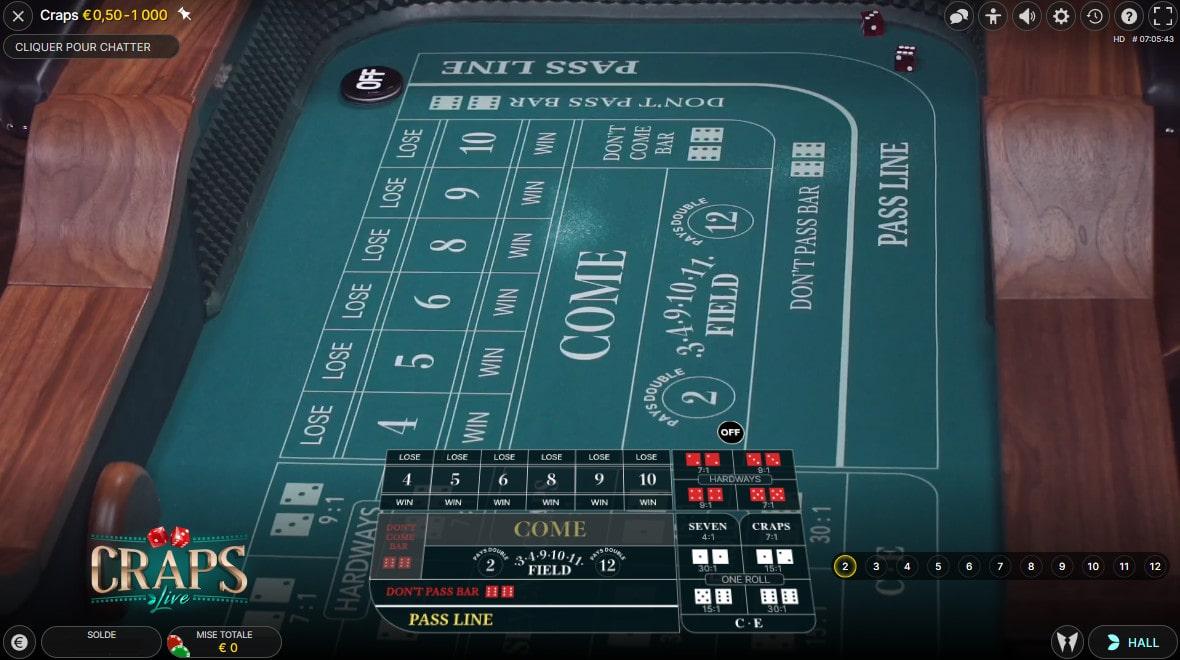 Vue aérienne de la table de dés en ligne Craps Live