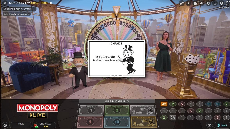 Carte Chance au Monopoly en ligne d'Evolution