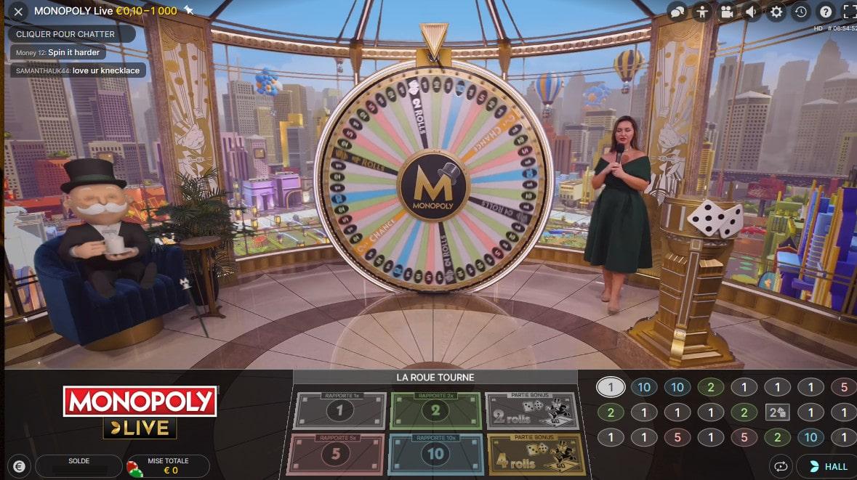 Studio du Monopoly live, le jeu de Monopoly en live d'Evolution