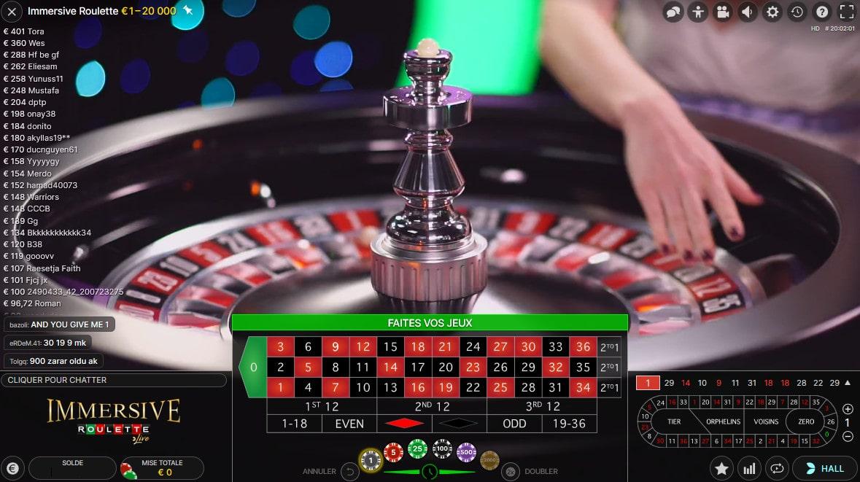 Details de la roulette Immersive en direct de studio d'Evolution