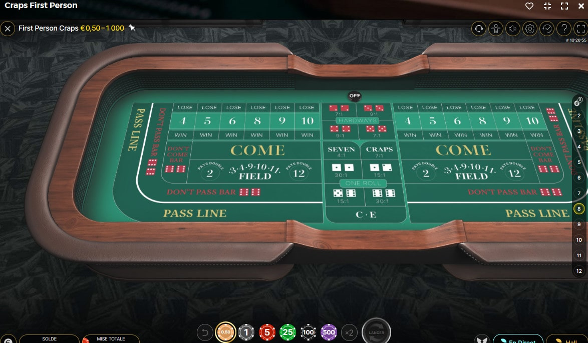 Table en 3D avec vue aérienne du jeu First Person Craps