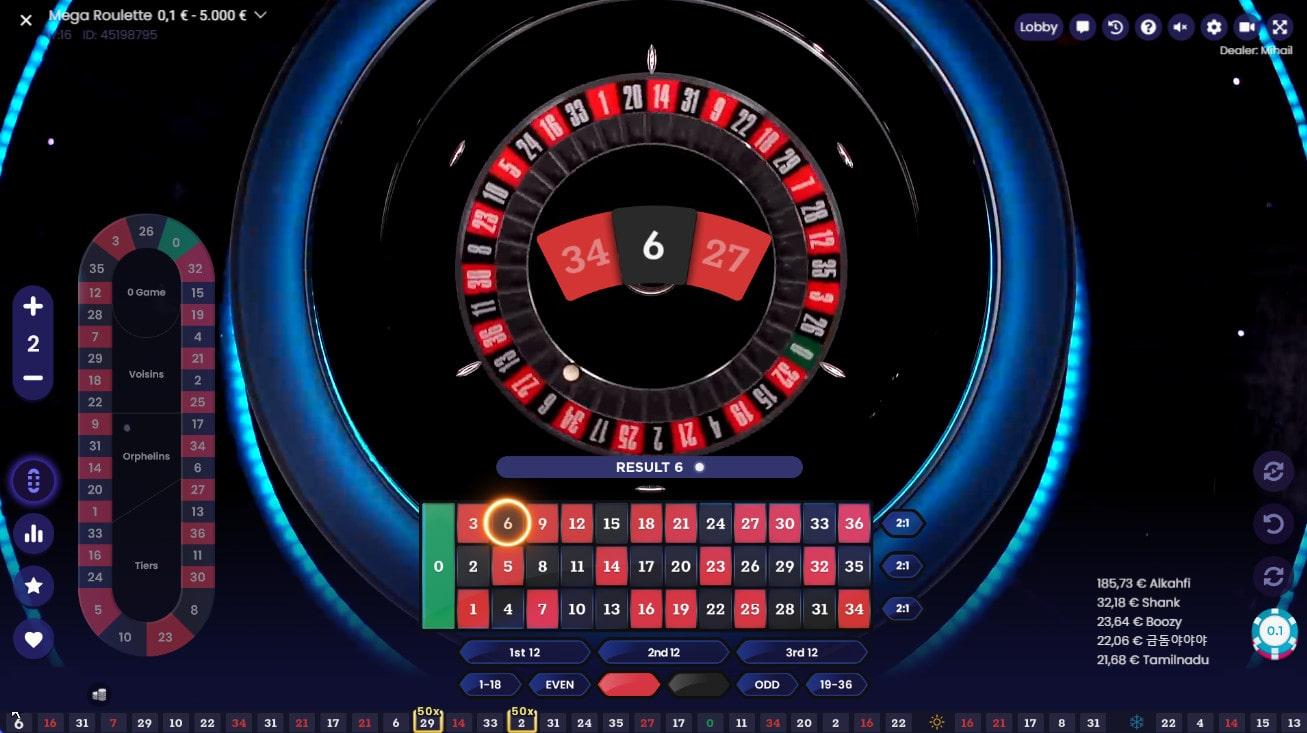 Numero gagnant sur Mega Roulette de Pragmatic Play live