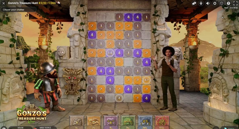 Gonzo's Treasure Hunt est un jeu en studio anime par un croupier en live et un personnage 3D tres populaire de Netent