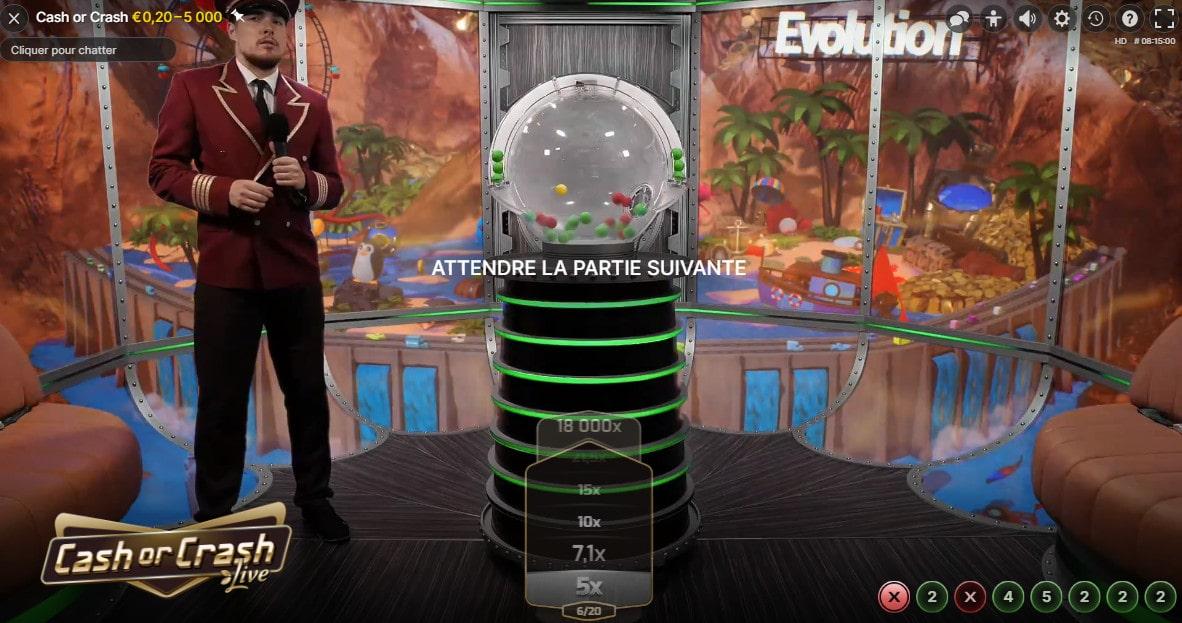 Jeu de loterie en live Cash Or Crash d'Evolution